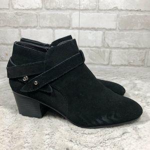 REGINA Suede Black Ankle Western Bootie (BOXV)